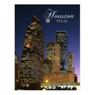 Downtown Houston, Texas at night Postcard