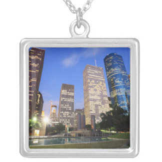 Downtown Houston, Texas Silver Plated Necklace