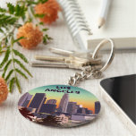 Downtown L.A. Basic Round Button Key Ring