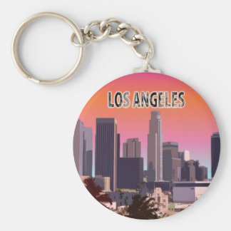 Downtown Los Angeles, California Basic Round Button Key Ring