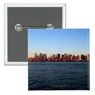 Downtown Manhattan at dusk 15 Cm Square Badge
