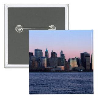 Downtown Manhattan at dusk 2 15 Cm Square Badge