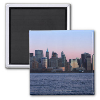 Downtown Manhattan at dusk 2 Square Magnet