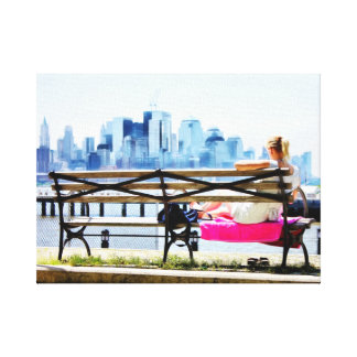 Downtown New York Skyline on a Summer Day Stretched Canvas Prints