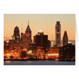 Downtown Philadelphia, Pennsylvania at sunset Card