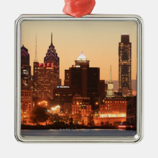 Downtown Philadelphia, Pennsylvania at sunset Christmas Ornament