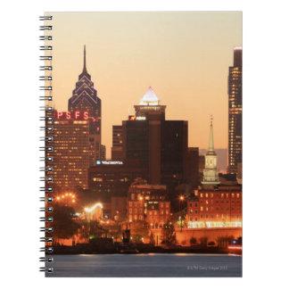 Downtown Philadelphia, Pennsylvania at sunset Note Books