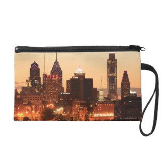 Downtown Philadelphia, Pennsylvania at sunset Wristlet
