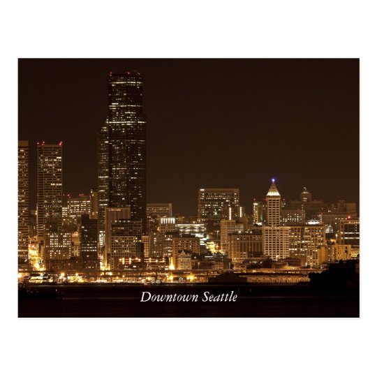 Downtown Seattle at night Postcard