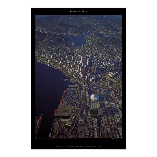 Downtown Seattle at Sunset With Kingdome, 1999 Poster
