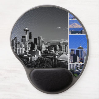 Downtown Seattle Blue Grey Collage Gel Mouse Mat