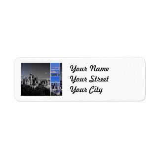 Downtown Seattle Blue Grey Collage Return Address Label