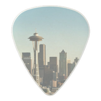 Downtown Seattle skyline and Space Needle Acetal Guitar Pick
