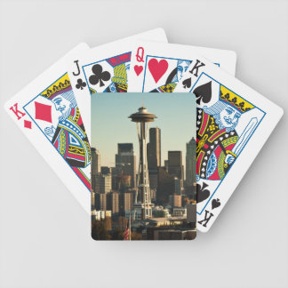 Downtown Seattle skyline and Space Needle Bicycle Playing Cards