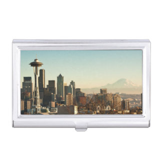 Downtown Seattle skyline and Space Needle Business Card Holder