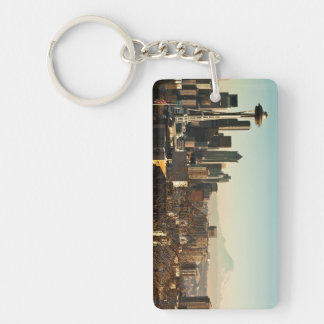 Downtown Seattle skyline and Space Needle Double-Sided Rectangular Acrylic Key Ring