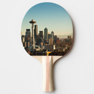 Downtown Seattle skyline and Space Needle Ping Pong Paddle
