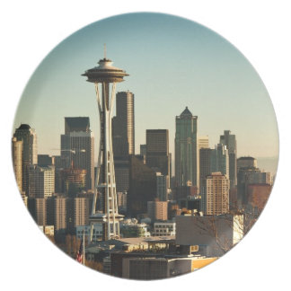 Downtown Seattle skyline and Space Needle Plate