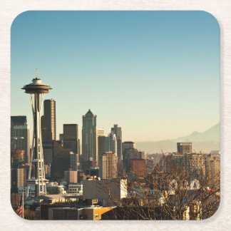 Downtown Seattle skyline and Space Needle Square Paper Coaster