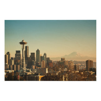 Downtown Seattle skyline and Space Needle Wood Canvas