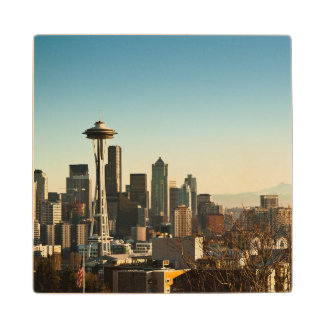 Downtown Seattle skyline and Space Needle Wood Coaster