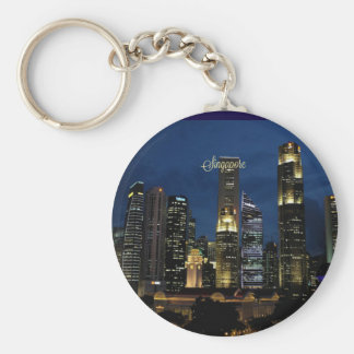 Downtown Singapore at Night Basic Round Button Key Ring