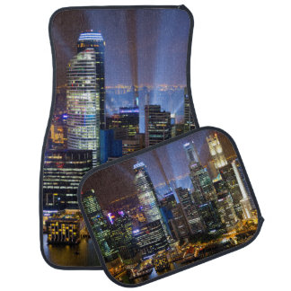 Downtown Singapore city at night Car Mat