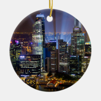 Downtown Singapore city at night Christmas Ornament