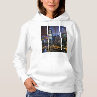 Downtown Singapore city at night Hoodie