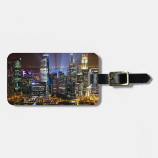 Downtown Singapore city at night Luggage Tag