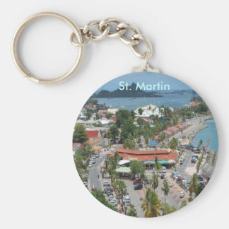 Downtown St. Martin Basic Round Button Key Ring