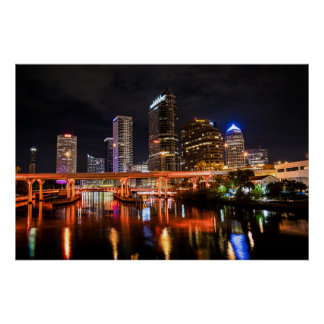 Downtown Tampa in Orange Poster