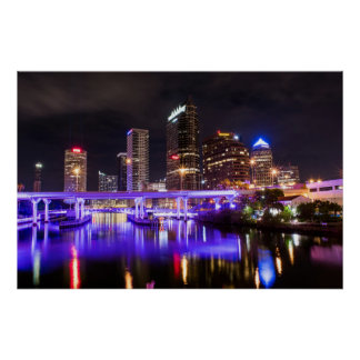 Downtown Tampa in Purple Poster
