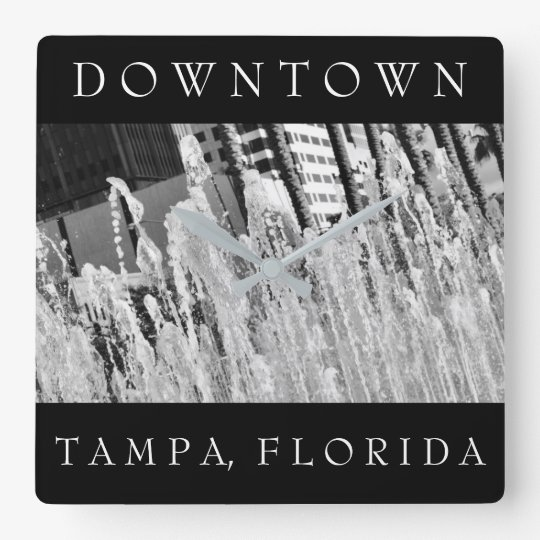 Downtown Tampa | Water Fountain Square Wall Clock
