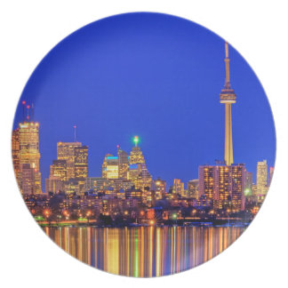 Downtown Toronto skyline at night Dinner Plate
