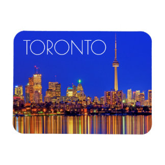 Downtown Toronto skyline at night Rectangular Photo Magnet