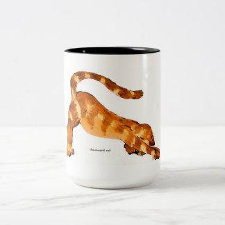 Downward Cat Mug-Original Art by SQ Streater Two-Tone Mug