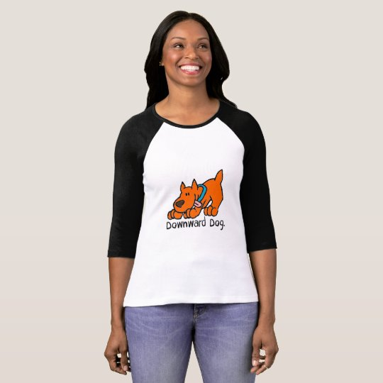 Downward Dog Cute Funny Yoga 3/4 Sleeve Top