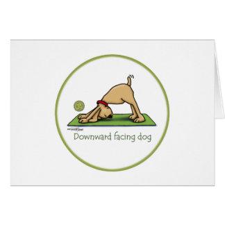 Downward Facing Dog Cartoon Card