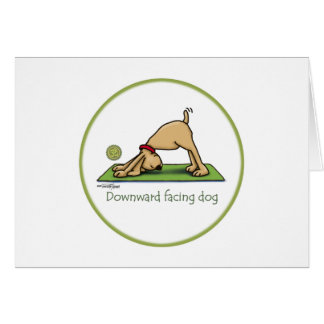 Downward Facing Dog Cartoon Greeting Card
