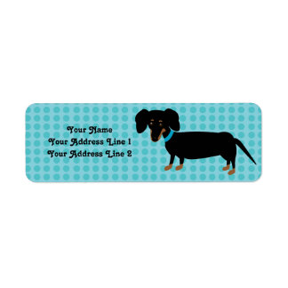 Doxie Boy with Pink Dots Background Return Address Label