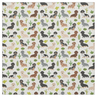 Doxie Cactus Fabric - cute dachshunds gift