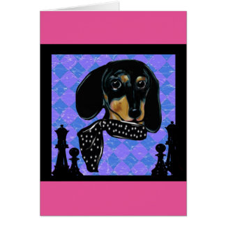 Doxie Chess Greeting Card