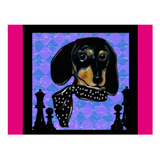 Doxie Chess Postcard