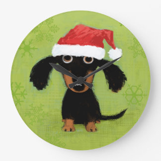 Doxie Clause | Cute Dachshund with Santa Hat Large Clock