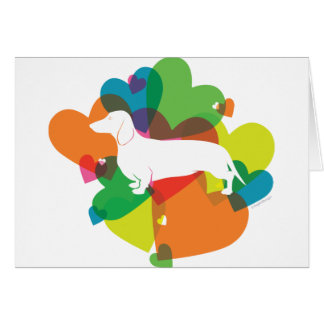 Doxie Colorful Heart Design Greeting Cards