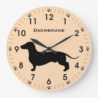Doxie Dachshund Dog Silhouette Personalized Large Clock