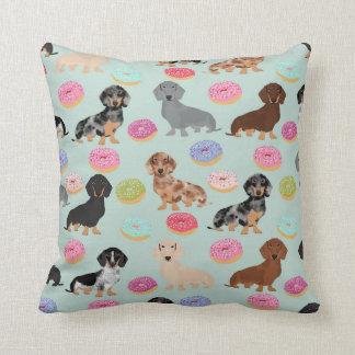 Doxie Dachshund Donuts throw pillow