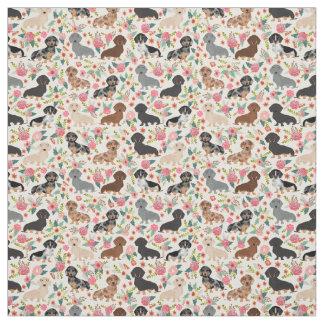 Doxie Florals Fabric - cute dachshund fabric print