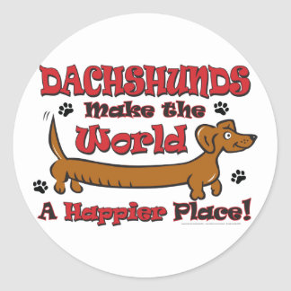 DOXIE-HAPPY CLASSIC ROUND STICKER
